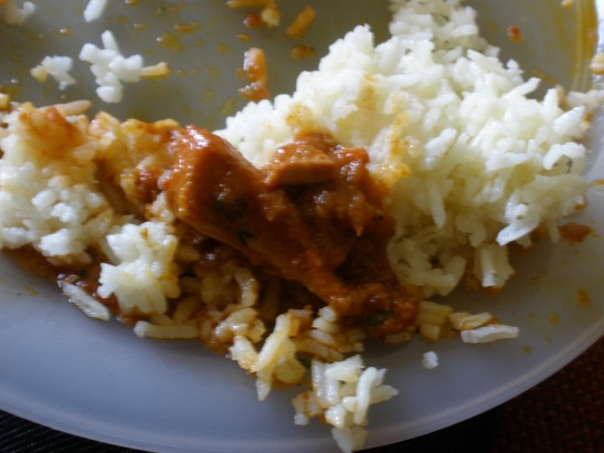 Combination of curries and basmati rice.