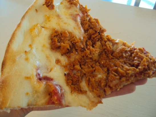 A slice of Powelton's famous BBQ chicken pizza